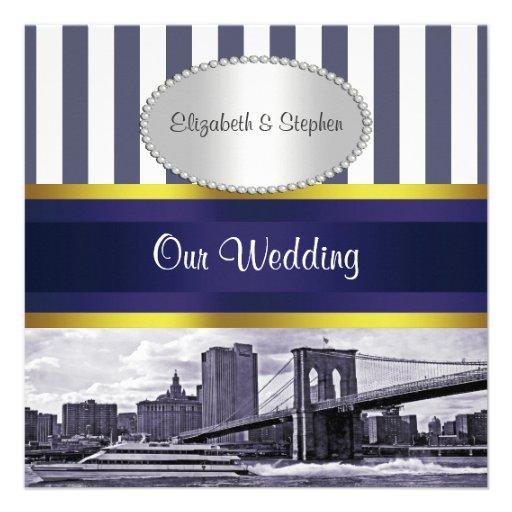 NYC Skyline Brooklyn Bridge Blue White Wedding Personalized Invitations