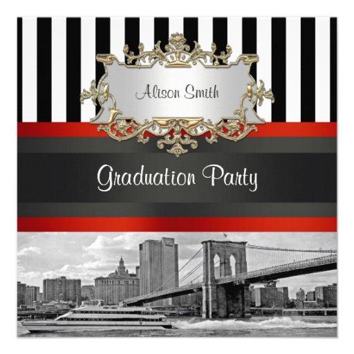NYC Skyline Brooklyn Bridge Boat 2 Graduation Invites