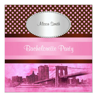 "NYC Skyline Brooklyn Bridge Boat 3 Bachelorette 5.25"" Square Invitation Card"