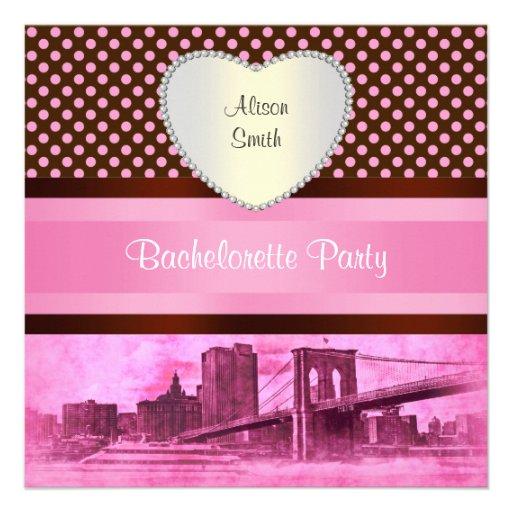 NYC Skyline Brooklyn Bridge Boat 3H Bachelorette Personalized Announcements