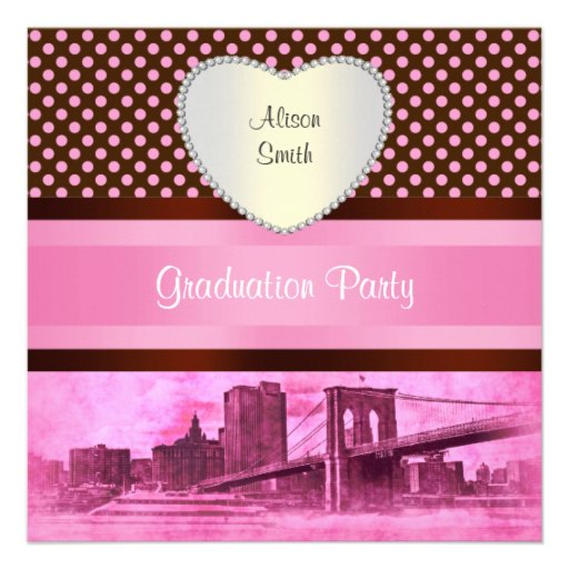 NYC Skyline Brooklyn Bridge Boat 3H Graduation Custom Invitations