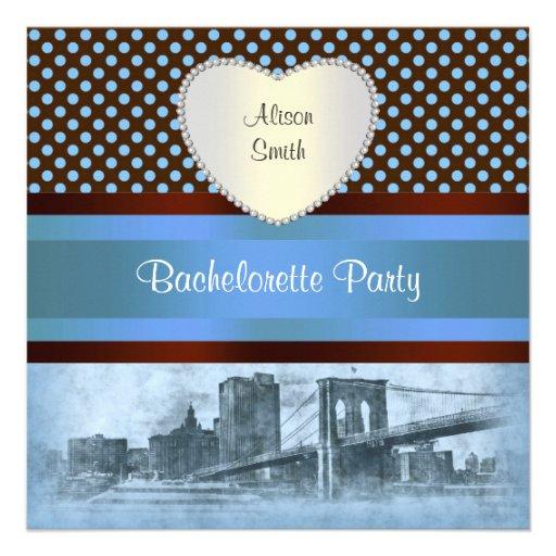NYC Skyline Brooklyn Bridge Boat 4P Bachelorette Custom Invitation