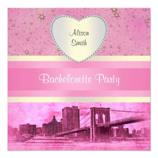 NYC Skyline Brooklyn Bridge Boat 5H Bachelorette Invites