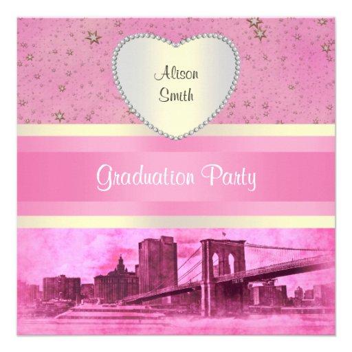 NYC Skyline Brooklyn Bridge Boat 5H Graduation Invites