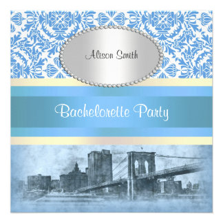 NYC Skyline Brooklyn Bridge Boat 6 Bachelorette Custom Invite