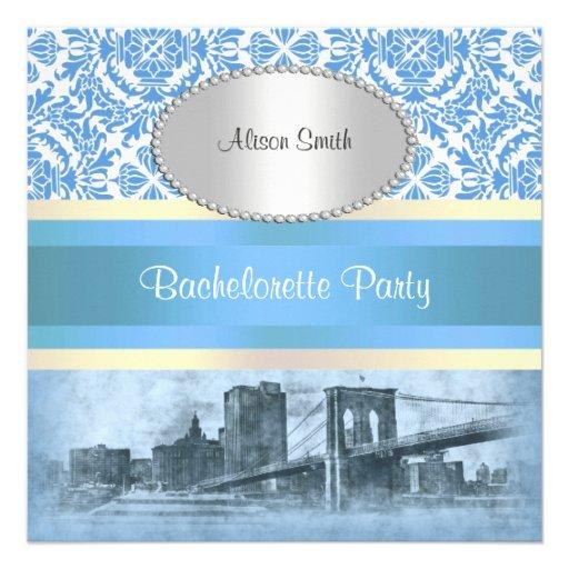 NYC Skyline Brooklyn Bridge Boat 6 Bachelorette Custom Invite