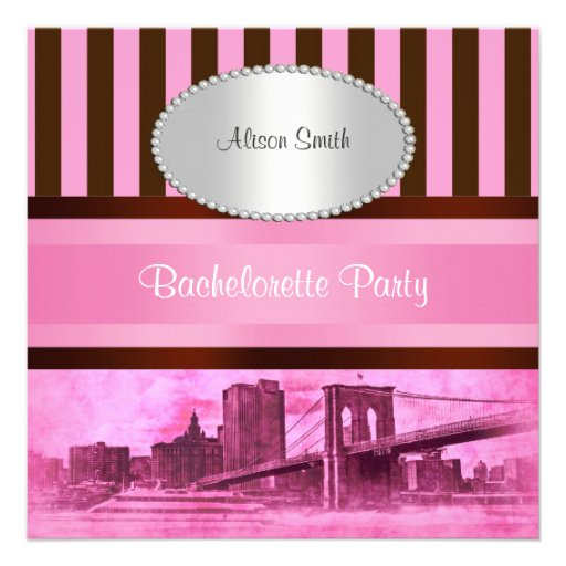 NYC Skyline Brooklyn Bridge Boat 7P Bachelorette Personalized Announcements