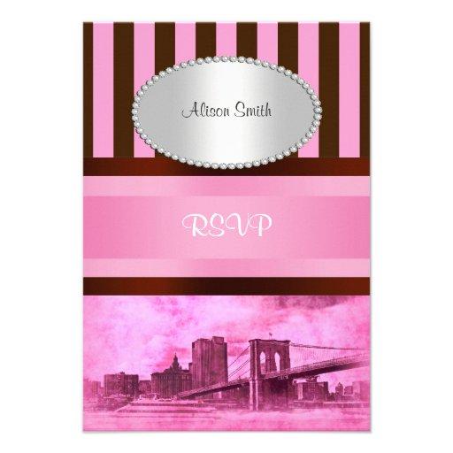 NYC Skyline Brooklyn Bridge Boat 7P RSVP Custom Invitations