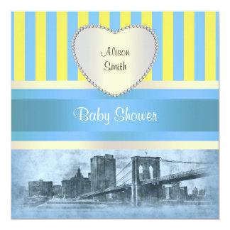 NYC Skyline Brooklyn Bridge Boat 9H Baby Shower Custom Invitation