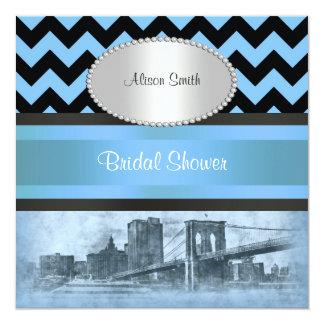 NYC Skyline Brooklyn Bridge Boat 9P Bridal Shower Custom Invites