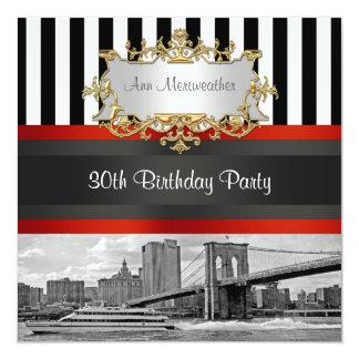NYC Skyline Brooklyn Bridge, Boat Birthday Invite