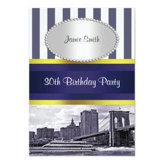 NYC Skyline Brooklyn Bridge Boat Blue Wt2 Birthday Card
