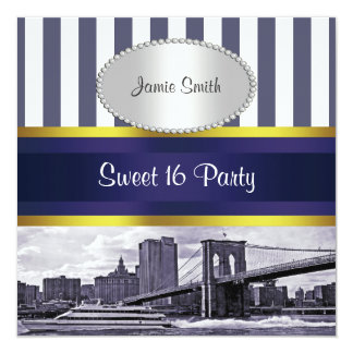 "NYC Skyline Brooklyn Bridge, Boat Blue Wt Sweet 16 5.25"" Square Invitation Card"