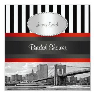 "NYC Skyline Brooklyn Bridge, Boat Bridal Shower 5.25"" Square Invitation Card"