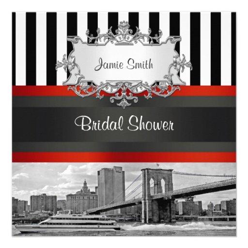 NYC Skyline Brooklyn Bridge, Boat Bridal Shower Custom Announcements