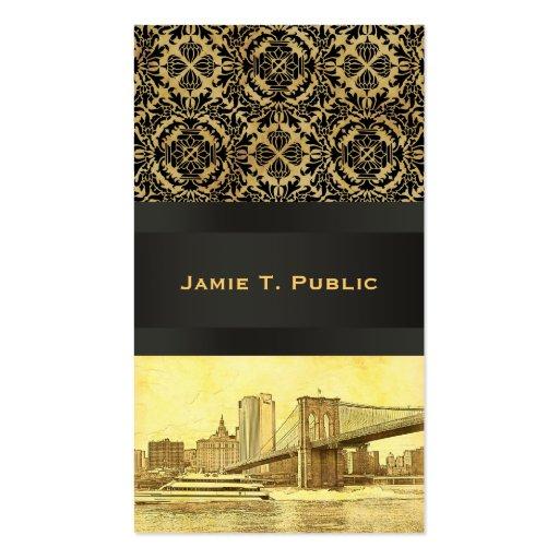 NYC Skyline Brooklyn Bridge Boat Etched Look #1B Business Card Template