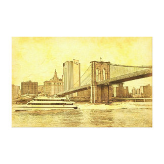 NYC Skyline Brooklyn Bridge Boat Etched Look #1BR Canvas Print