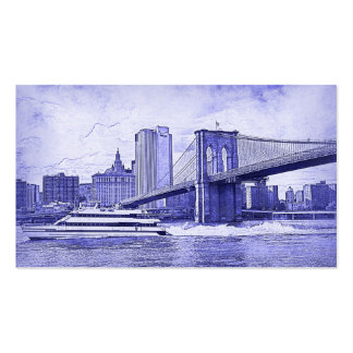 NYC Skyline Brooklyn Bridge Boat Etched Look #2 Business Card
