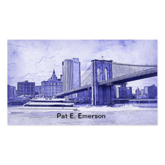 NYC Skyline Brooklyn Bridge Boat Etched Look #2 Business Card Templates