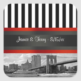 NYC Skyline Brooklyn Bridge Boat Invitation Suite Square Sticker