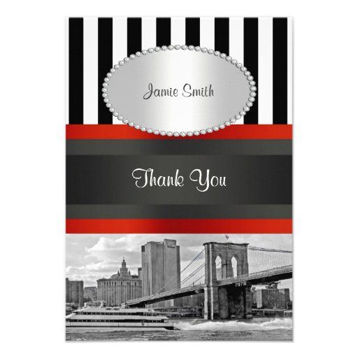 NYC Skyline Brooklyn Bridge, Boat Thank You Announcements