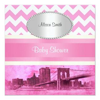 NYC Skyline Brooklyn Bridge Pk Wt P Baby Shower Custom Announcements