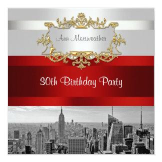 NYC Skyline BW 05 White, Red Birthday Invite