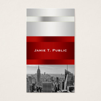 NYC Skyline BW 05 White Red Invite Suite