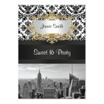 NYC Skyline BW 431 Damask Sweet 16 Party Invite V
