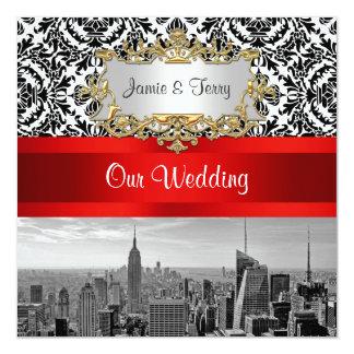 NYC Skyline BW 432 Damask Wedding Invitation