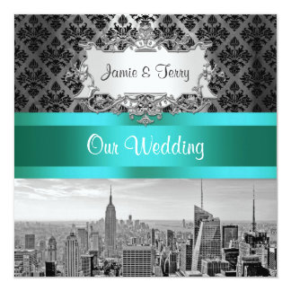 NYC Skyline BW B3 Damask Wedding Invitation F2