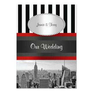 "NYC Skyline BW Black White Stripe 2P Wedding 5"" X 7"" Invitation Card"