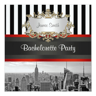 NYC Skyline BW Black White Stripe Bachelorette Personalized Announcement
