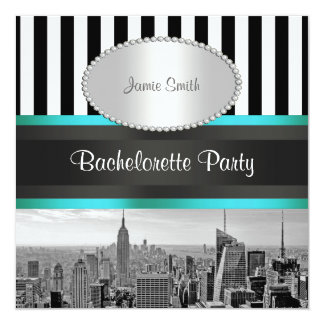 NYC Skyline BW Blk Wht Strp Teal P Bachelorette Personalized Invite