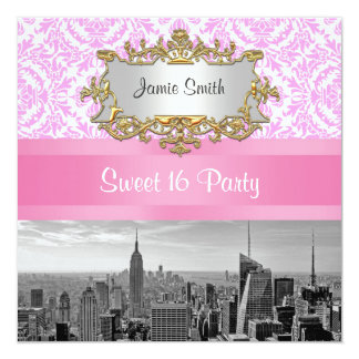 """NYC Skyline BW D4P Pink Damask Sweet 16 Party 5.25"""" Square Invitation Card"""