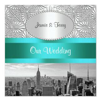 "NYC Skyline BW Silver White Damask Wedding 5.25"" Square Invitation Card"