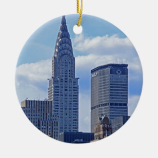 NYC Skyline Chrysler Building B1 Round Ceramic Ornament