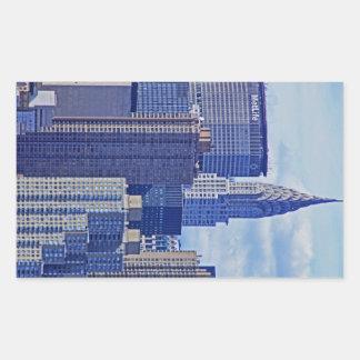 NYC Skyline: Chrysler Building, Met Life B1 Rectangular Stickers