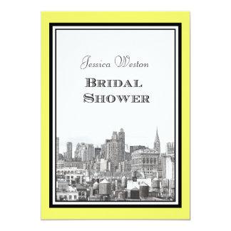 NYC Skyline Chrysler / FI #1 Etched Bridal Shower Custom Invite