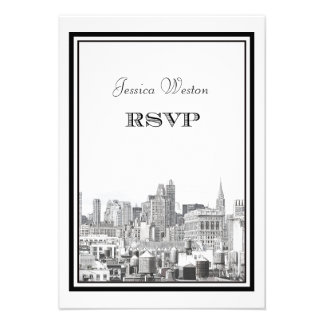 NYC Skyline Chrysler / FIatiron #2 DIY RSVP Custom Announcements