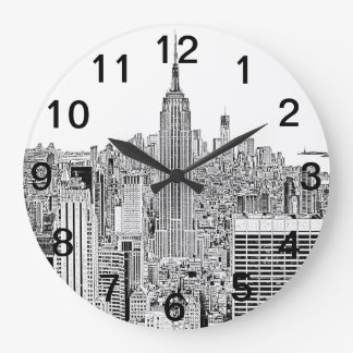 NYC Skyline - Empire State Building, Etched look Large Clock