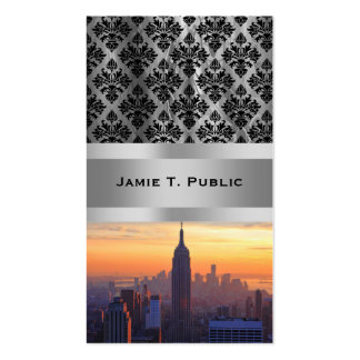 NYC Skyline: Empire State Building Orange Sunset 2 Business Card