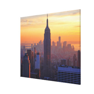 NYC Skyline: Empire State Building Orange Sunset Canvas Print
