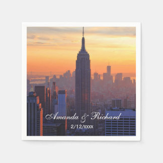 NYC Skyline: Empire State Building Orange Sunset Disposable Napkin