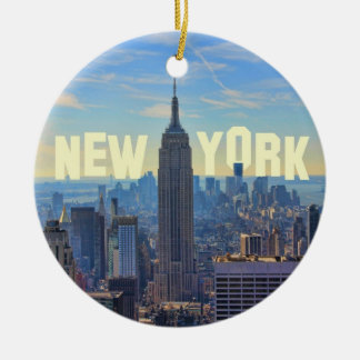 NYC Skyline Empire State Building, World Trade 2C Ceramic Ornament