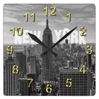 NYC Skyline Empire State Building, WTC BW 2C Clock