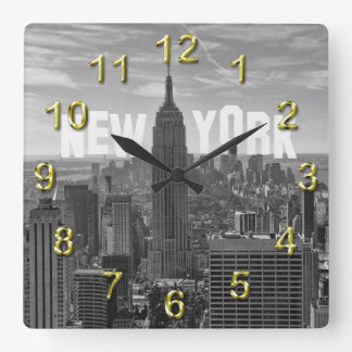 NYC Skyline Empire State Building, WTC BW 2C Square Wall Clock