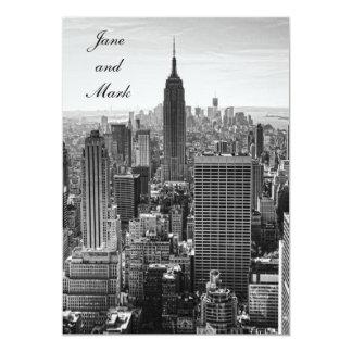 "NYC Skyline Empire State Building WTC BW Wedding 5"" X 7"" Invitation Card"