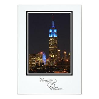 """NYC Skyline ESB, 30 Rock in Blue Wedding 5"""" X 7"""" Invitation Card"""