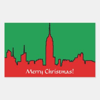 NYC Skyline: ESB Christmas Silhouette Rectangular Stickers